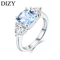 DIZY 3Stone Cushion Natural Sky Blue Topaz Ring 925 Sterling Silver Gemstone Ring for Women Gift Wedding Ring Engagement Jewelry