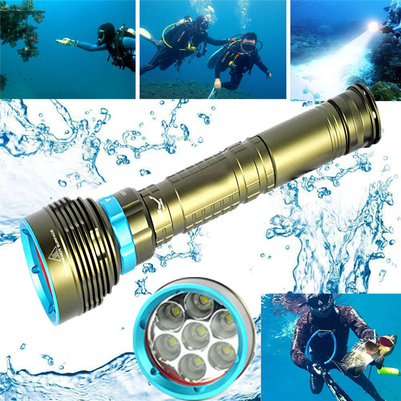 C3 Bicycle Bike Light Underwater 200m 20000LM 7x XM-L2 LED Scuba Diving Flashlight 3X18650/26650 Torch Ultra Bright 100m underwater diving flashlight led scuba flashlights light torch diver cree xm l2 use 18650 or 26650 rechargeable batteries