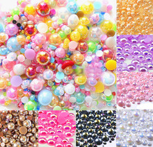 500Pcs Mixed 2-10mm Colorful AB Half Round Pearl Beads Craft Cabochon Scrapbook Decoration Flatback Nail Art Garment DIY