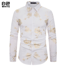 (European Size) 2019 MenS Autumn Fashion New Nightclub Lapel Butterfly Hot Stamping Long-Sleeved Shirt