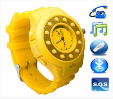 Bluetooth children watch mobile phone GPRS GSM850/900/1800/1900MHz Quad Band hidden gp tracker for kid without gps function(China)