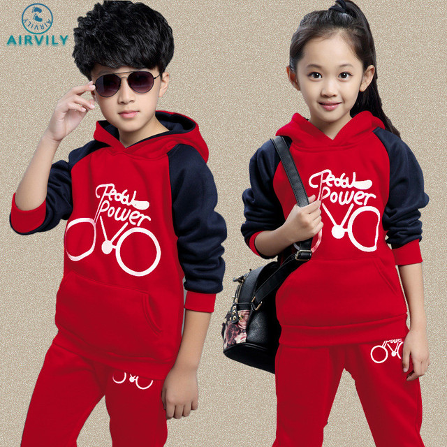 Kids Girl Set 2017 Fall Spring Warm Clothes Full Sleeve Sport Suit Boy Hooded Sweatshirt Tracksuit Teenage Baby Boy Clothing Set