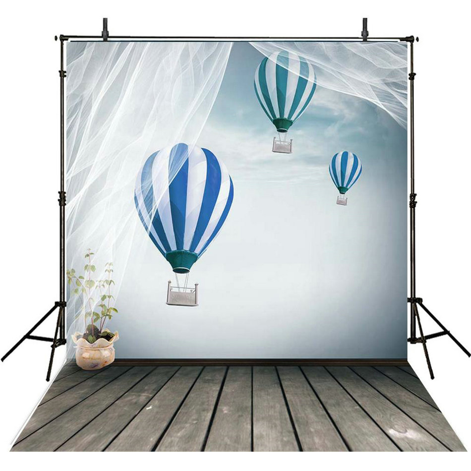 Sky Clouds Hot Air Balloon lace curtain photo backdrop Vinyl cloth High quality Computer print wall Background
