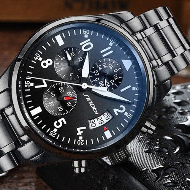 SINOBI Watches Men Waterproof Stainless Steel Luxury Pilot Wrist Watches Chronograph Date Sport Diver Quartz Watch Montre Homme
