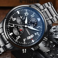 SINOBI New Pilot Mens Chronograph Wrist Watch Waterproof Date Top Luxury Brand Stainless Steel Diver Males