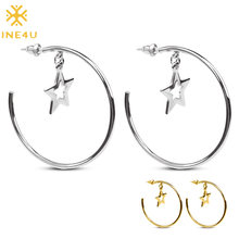 FINE4U E079 Gold Color Round Circle Dangle Earrings Stainless Steel Star Drop Earrings 2019 Korea Style Women Statement Jewelry(China)