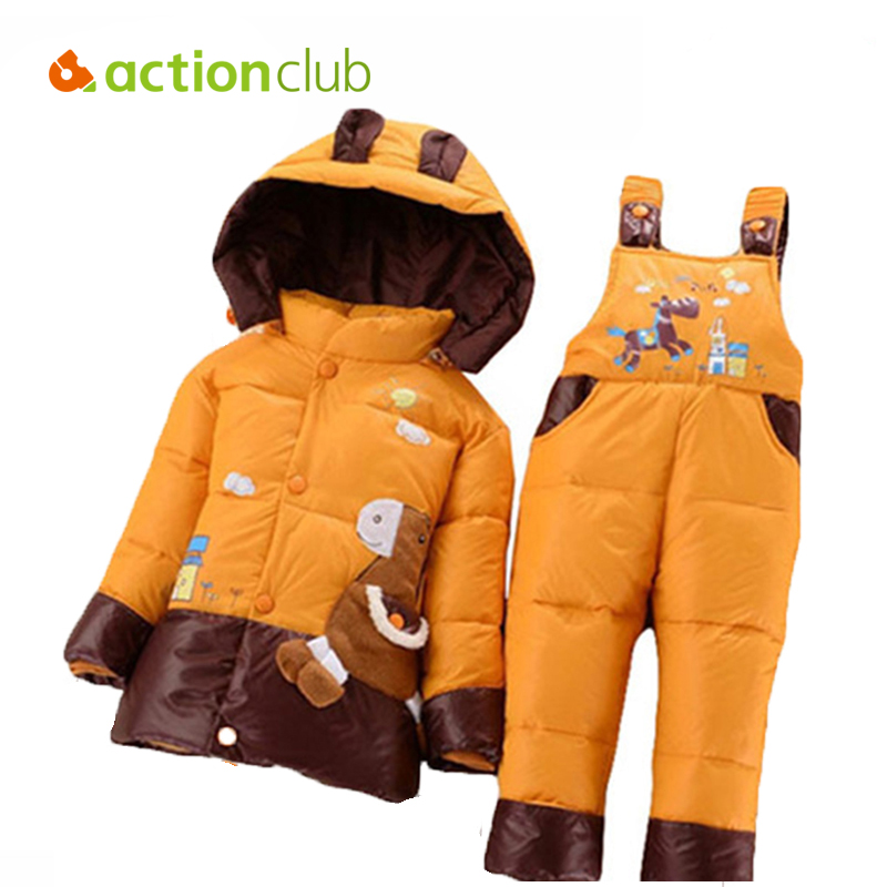 NEW 2015 winter children clothing sets duck down jacket sets pants-jacket hooded baby girls winter jacket & coat Pony pattern knife