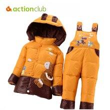 Новый 2015 Зимняя Детская Одежда наборы комплекты с курткой на утином пуху Штаны-куртка с капюшоном для маленьких девочек зимняя куртка и пальто принт в виде пони