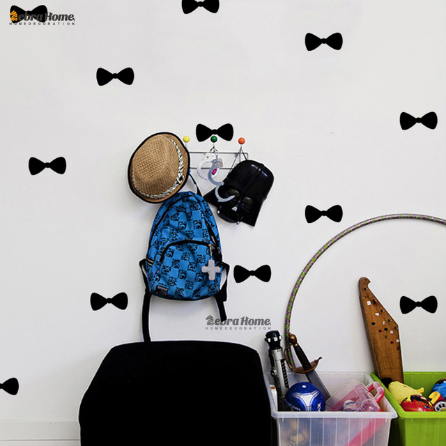 Diy removable small bowknot wall decal stickers baby nursery bedroom murals wallpaper for living rooms home