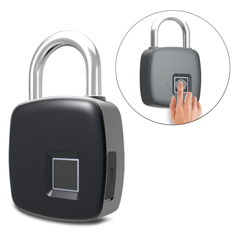 Portable Fast Unlocking Smart Fingerprint Lock Security without Password Waterproof Padlock Anti-theft for Bag SuitcasePortable Fast Unlocking Smart Fingerprint Lock Security without Password Waterproof Padlock Anti-theft for Bag Suitcase