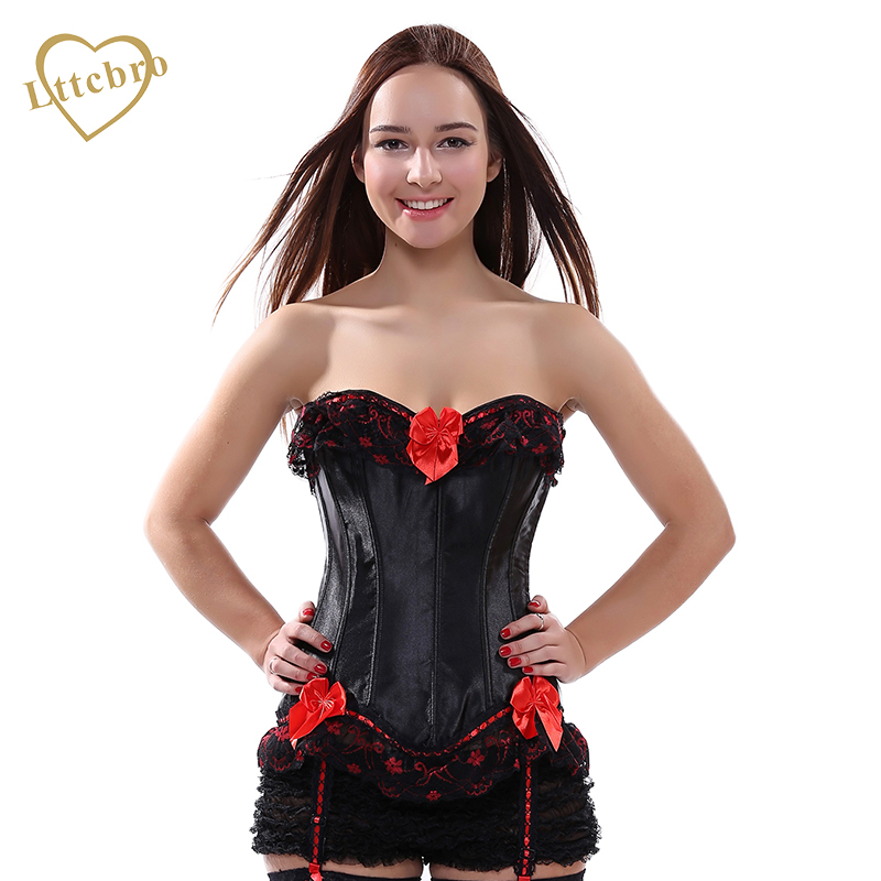 Womens   Bustier     Corset   Black Satin Red Bowknot Waist Cincher Hot Lingerie Sexy Plus Size   Corsets   and   Bustiers   Lace Up   Corset