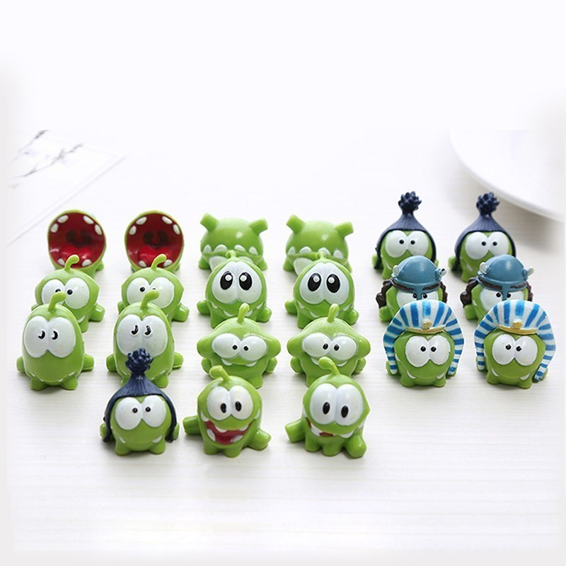 Kawaii The Rope Om Nom Frog PVC Doll Mini 3cm Frog Model Toy Cut The Rope Action Figures Toys For Kids Birthday Gift Home Decor