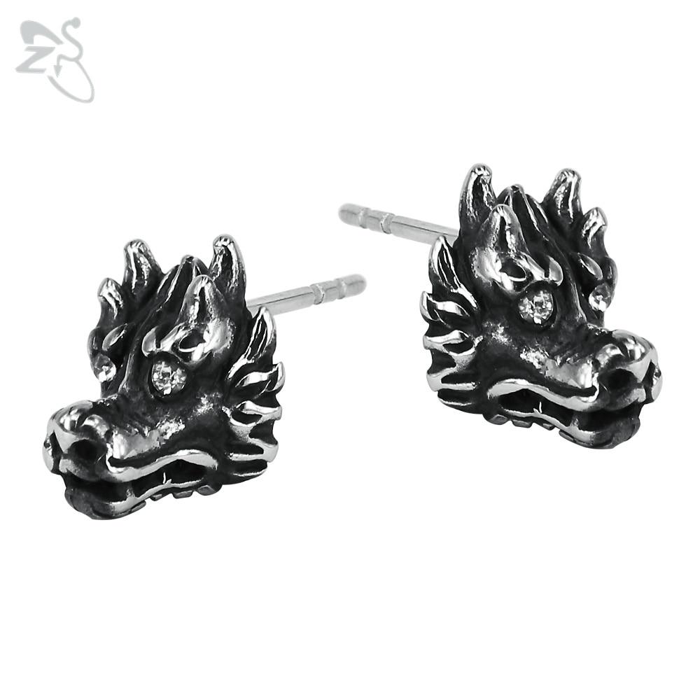 Dragon Earrings Punk Brincos Male Stainless Steel Men Stud Earring Pendientes Hombre Bijoux For Women Silver Mens Earing Jewelry