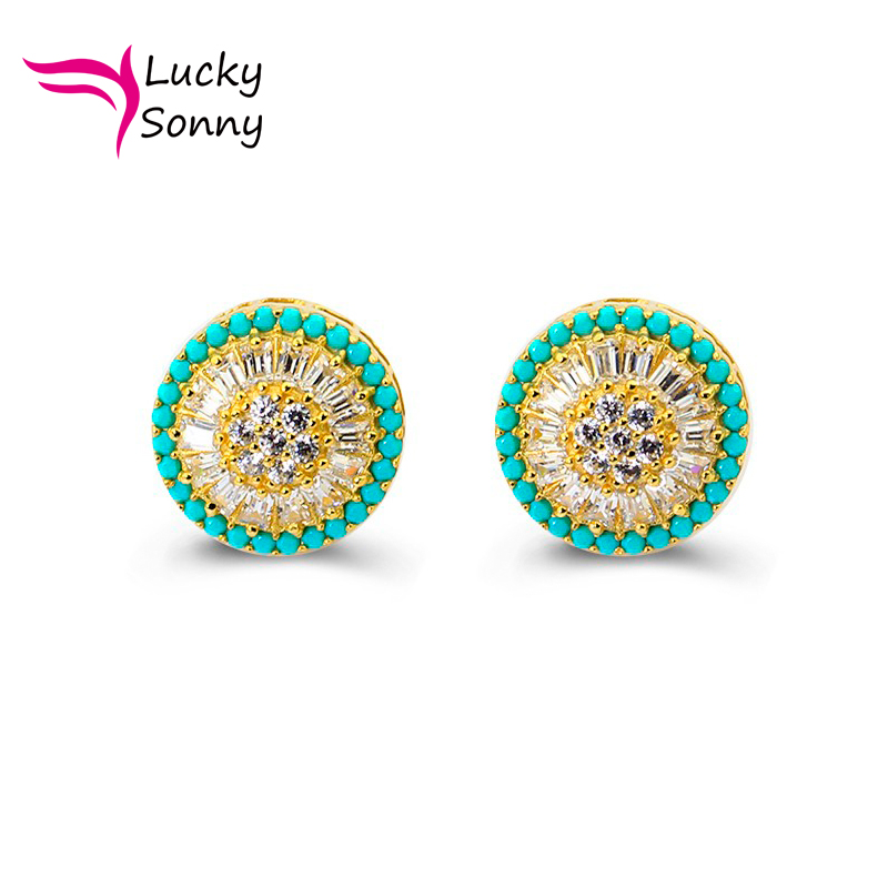 Brazil Turkey Popular Silver Jewelry Loose Turquoise & White CZ Micro Paved Gold Plated Screw Back Round Pizza Stud Earrings