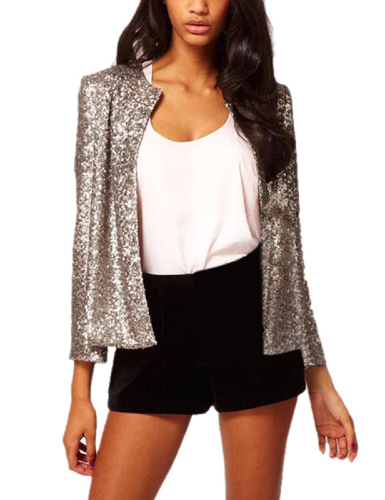 MISSKY Women Fashion Round Collar Long Sleeve Casual Coat Sequins All-match Tops Suit