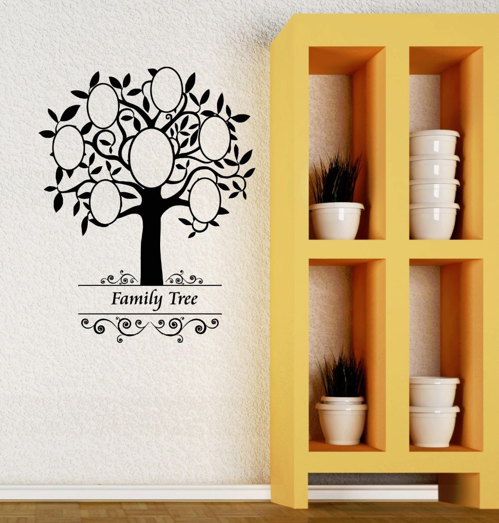 Modern Family Tree Pattern English Letter Wall Stickers Vinilo Pared ...