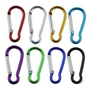 Image 4 - 5pcs 다채로운 알루미늄 합금 R 모양의 Carabiner 키 체인 후크 봄 스냅 클립 캠핑 하이킹 등산 액세서리 여행 키트