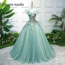 Hortelã quinceanera vestidos de baile vestido de baile com decote em v apliques flor dança tule vestido de baile de 15 anos doce 16 vestidos 247