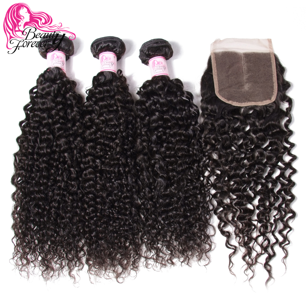 Beauty Forever Curly Brazilian Human Hair 3 Bundles With Lace Closure 100% Remy Hair With 4*4 Closure Free/Middle/Three Part