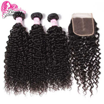 Beauty Forever Curly Brazilian Human Hair 3 Bundles With Lace Closure 100% Remy Hair With 4*4 Closure Free/Middle/Three Part - DISCOUNT ITEM  30% OFF All Category