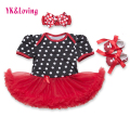 Black Dot Print Girls Clothes Causal Style Baby Romper + Headband + Shoes 3 Pcs Newborn Girl Tutu Dress with Red Ruffle  Yi
