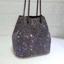 2019 New Black and Silver Super Flash Rhinestone Chain Bag Bucket Women Purses Handbags