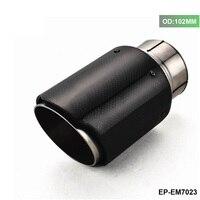 1 pces id 2.5 63 63 63mm od: 102mm de fibra carbono silenciador do escape tubo ponta fr universal carro automóvel EP EM7023 102|Silenciadores| |  -