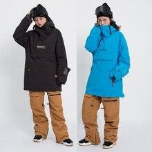 New Pullover Ski Jacket men's winter warm and windproof waterproof snowboard wear ski equipment  black overall snow jackets  -30 цены онлайн
