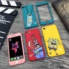 360 Degree Full Cover Body Protective Phone Cases For iPhone 7 8 6 6s Plus SpongeBob Patrick Star Cartoon Xs Max Xr case fundas(China)