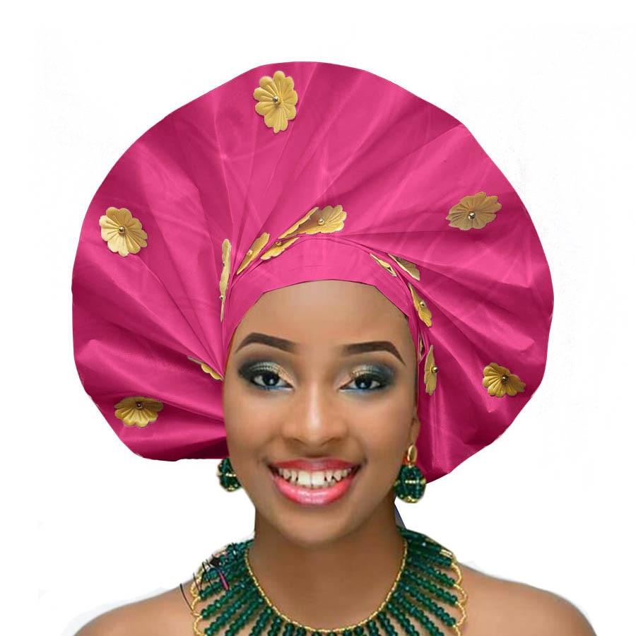 New design auto gele african headtie party african head wraps wedding african turban (6)