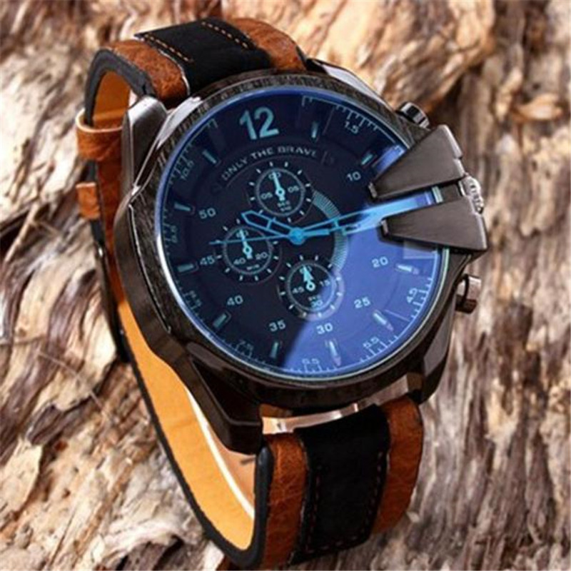 Fashion Men's Analog Sport Mens Watches Steel Case Casual Quartz Dial Synthetic Leather Wrist Watch Reloj Hombre 2017 Clock fashion casual quartz watch for men oversize stainless steel case leather strap simple analog dial reloj hombre montre homme