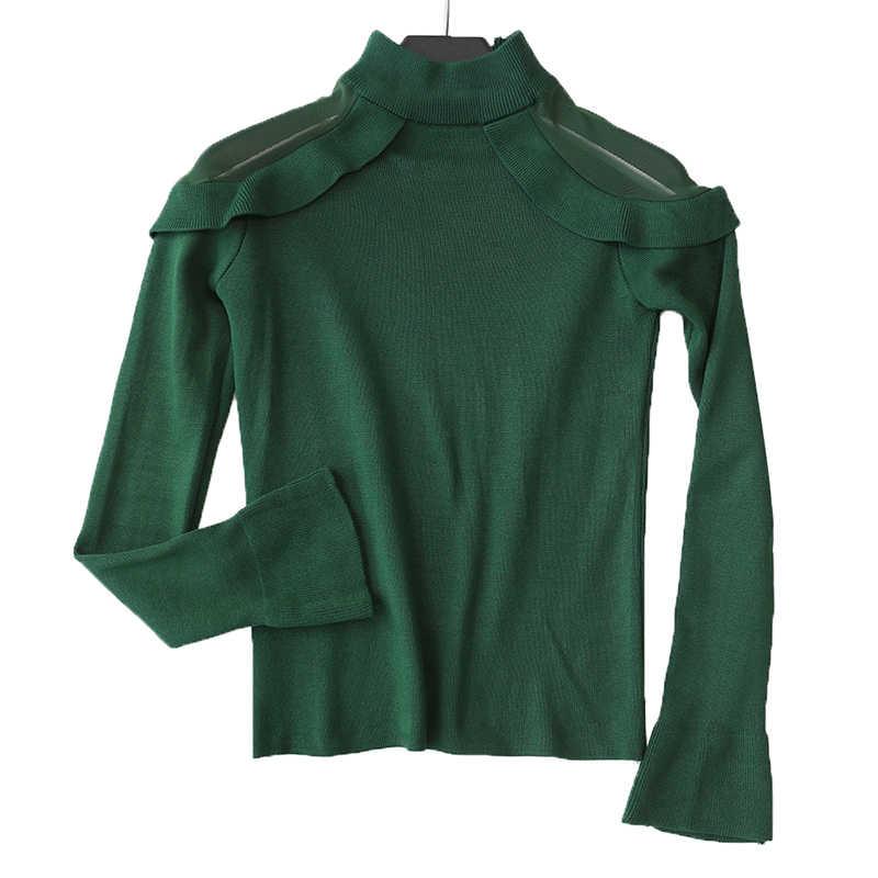 Новинка 2019, женские свитера и пуловеры с высоким воротником, однотонные тонкие оборки, милые зеленые женские элегантные топы