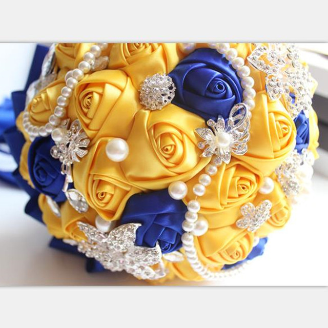 Online shop yellow royal blue wedding bouquets with crystal bridal image mightylinksfo