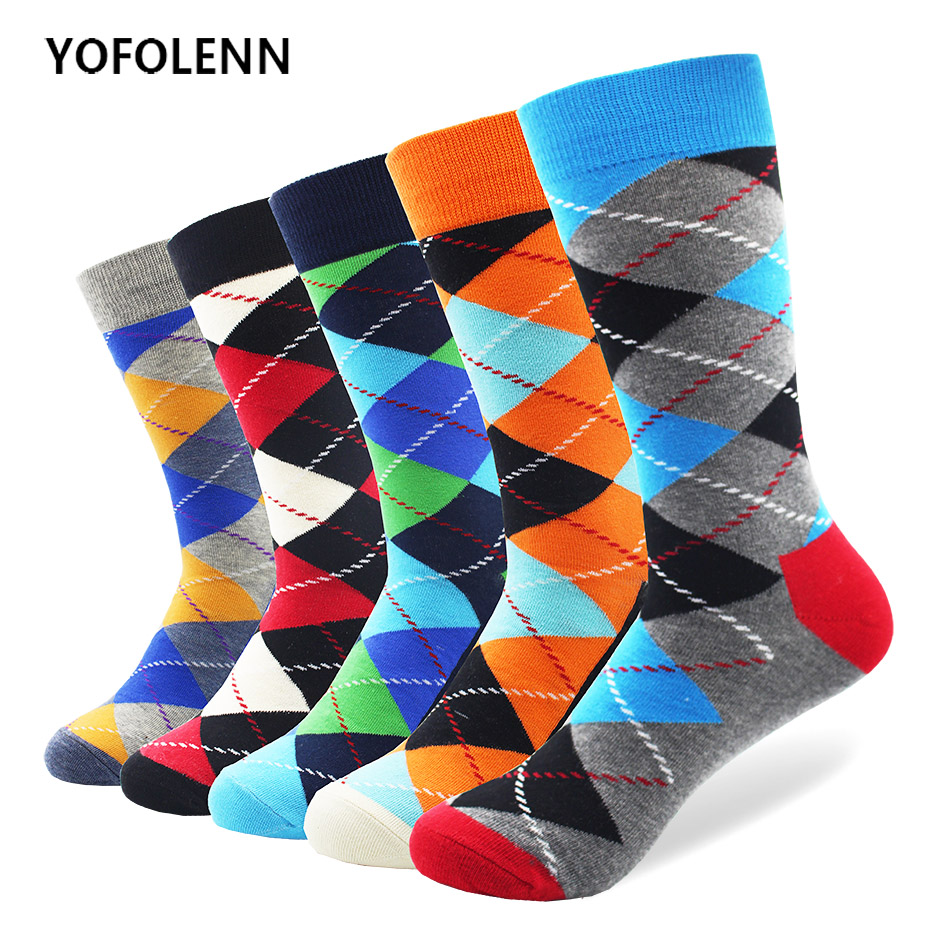 5 pair/lot Mens Colorful Funny Argyle Combed Cotton Socks Bright Men Long Crew Dress Socks US Size 7.5-12