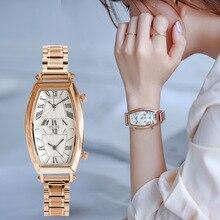 2019 Nieuwe Collectie Fashion Vrouwen Horloges Luxe Lady Horloge Roestvrij staal vlinder gesp vacuüm plating dubbele tijdweergave
