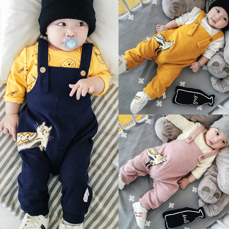 Baby Casual Fall Pussy Cat Diaper Bib Pants 1 Boy Girls Long Cotton Full Bloom Trousers