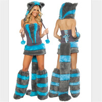 2018 mujeres Pokemon sexy CAT Girl Costume party Cosplay animal de piel ropa de lujo felpa sexy Catwoman traje de Halloween