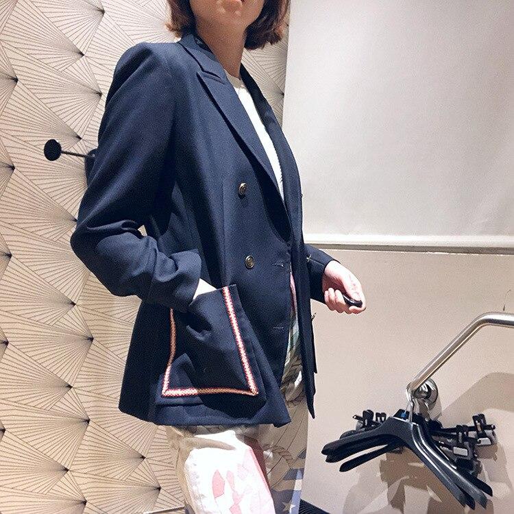 Double À Blazer Nouvelle Costume D'été Bleu Décontracté Femmes 2019 Et Printemps Boutonnage UOqwYUZ7