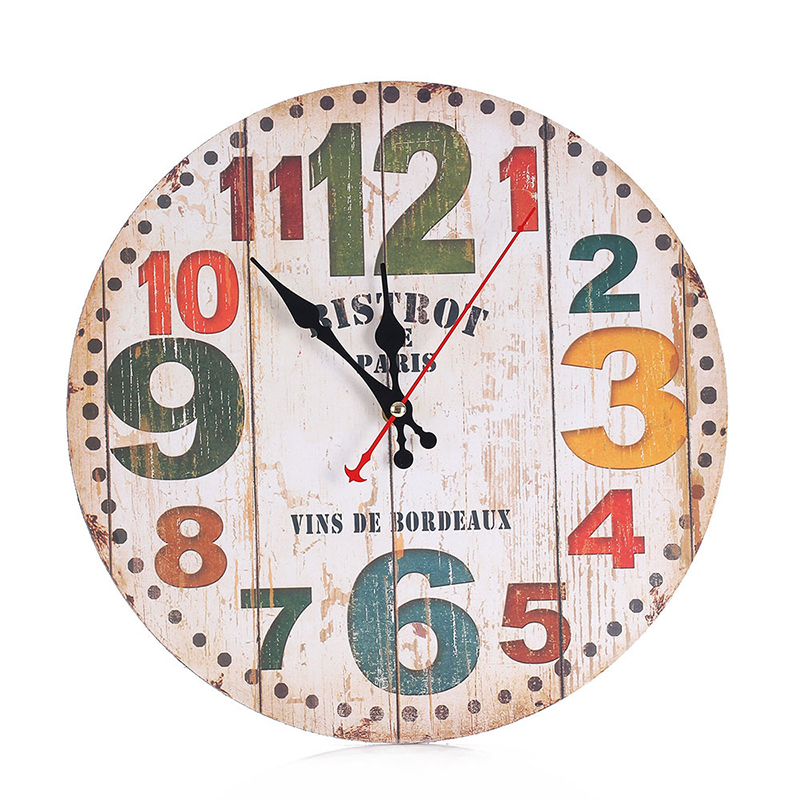 Retro Wooden Wall Clock Modern Design Alarm Vintage Chic Home Office Cafe Decoration