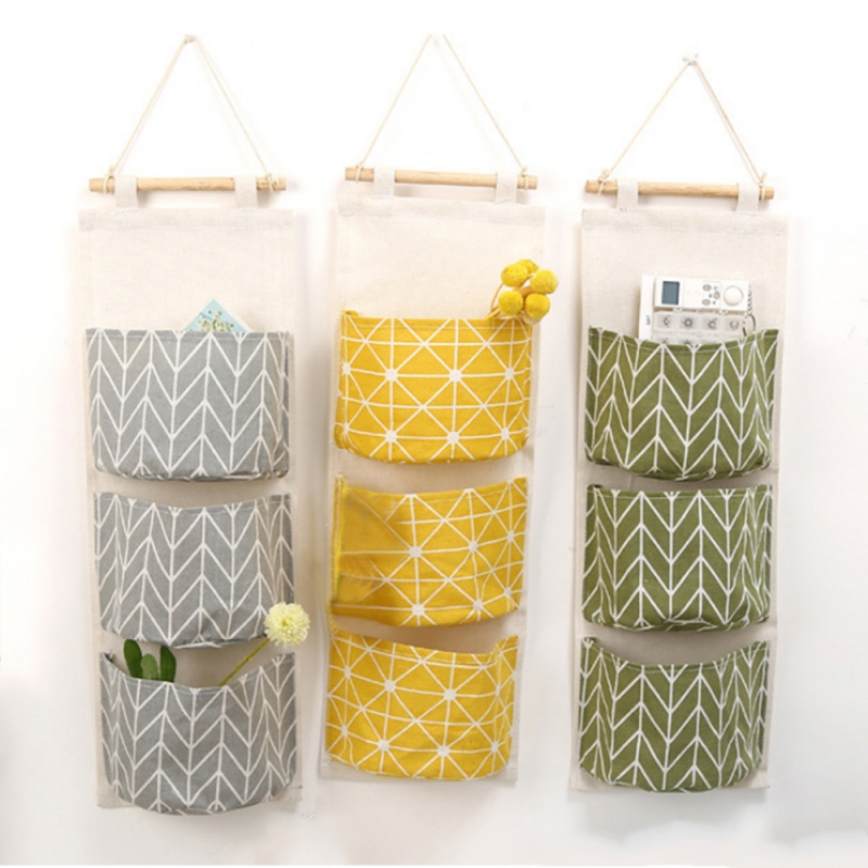 Home Storage Cotton Linen Waterproof multi - layer Hanging Pocket Cloth Door After Hanging Storage