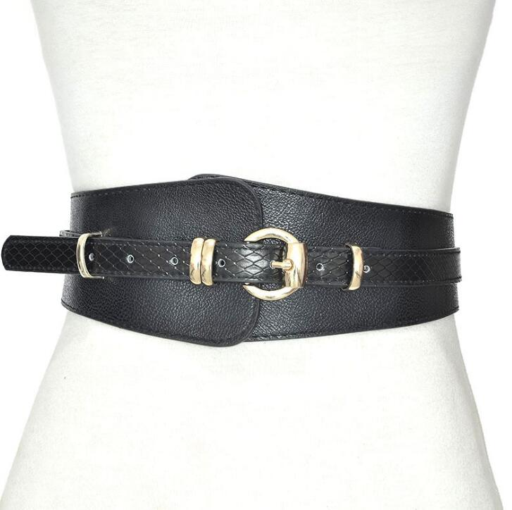 Women's Runway Fashion PU Leather Cummerbunds Female Dress Corsets Waistband Belts Decoration Wide Belt R1474