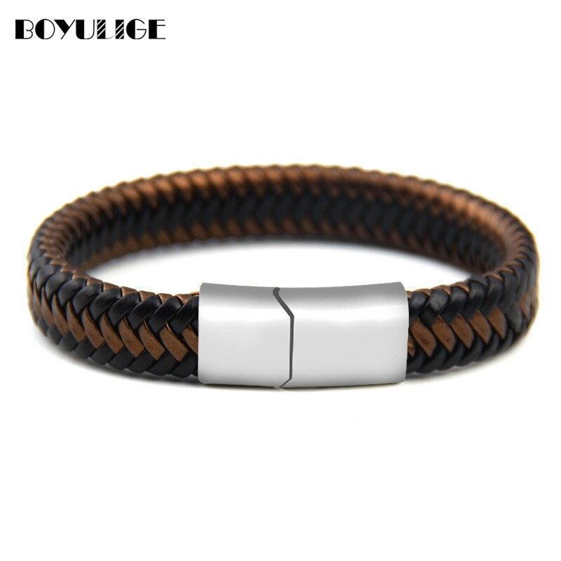 1f0f6b27b593 Pulsera de cuero de alta calidad PU pulsera de acero inoxidable tejida a  mano para hombres y mujeres amistad joyería regalos Envío Directo