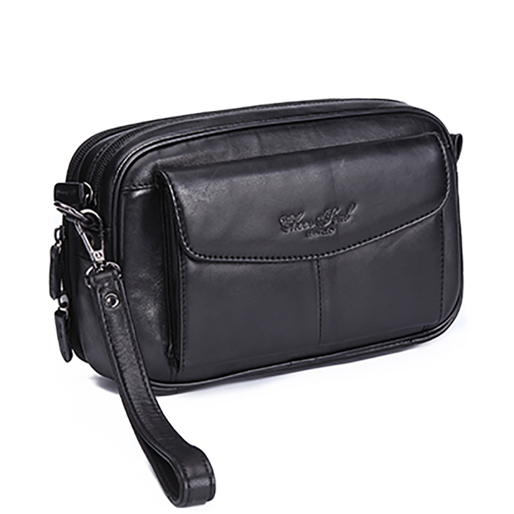 High Quality Genuine Natural Leather Hand Bag Men Casual Long Wallet Purse 6.4 Inch Mobile Cell Phone Male Handy Clutch Bags New 100% genuine leather men 5 5 6 5 inch cell mobile phone case bags hip design belt purse high quality waist hook coin purse bag