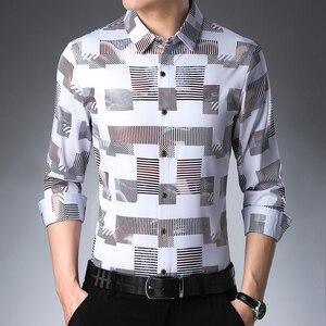 Image 3 - MIACAWOR chemise à manches longues pour hommes, vêtement imprimé, grande taille, style chemises décontractées, C457
