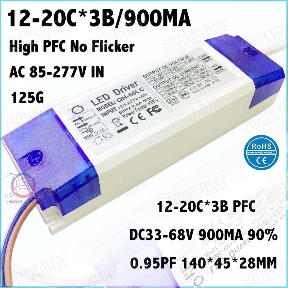 2 Pcs PF0.9 60W AC85-277V LED Driver 12-20Cx3B 900mA DC35-68V No Flicker Constant Current LED Power For Spotlights Free Shipping