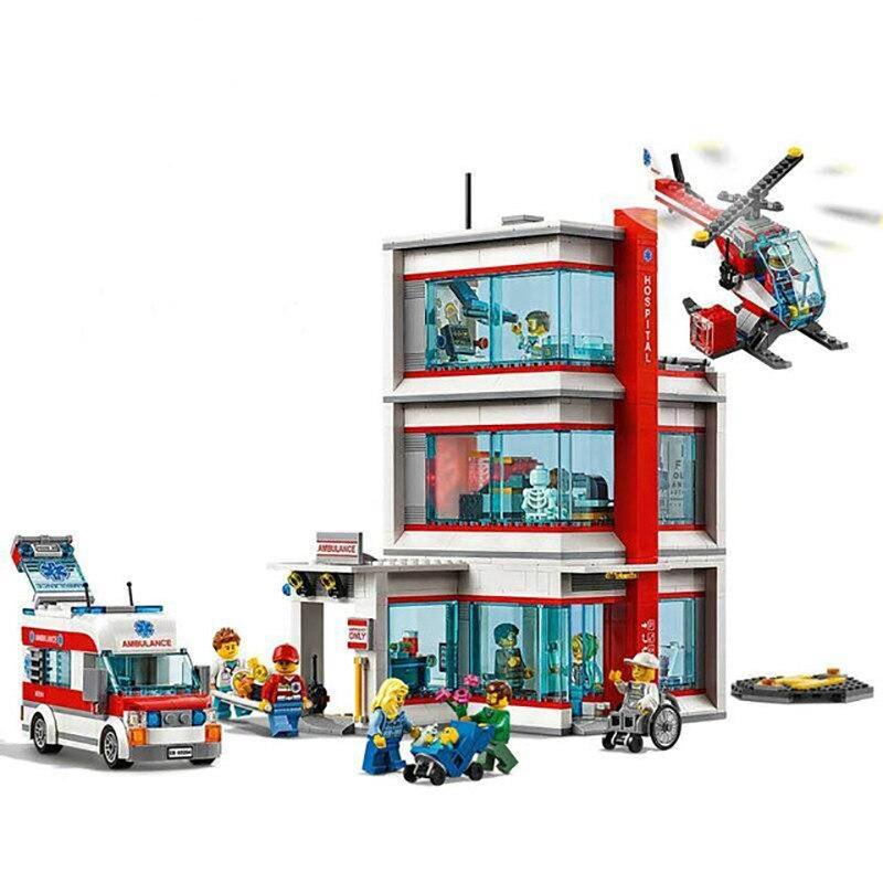 Nouvelle Ville Serices Hôpital Set compatible avec Legoing Ville Série blocs de construction Briques Kits Enfants jouets éducatifs cadeaux 60204
