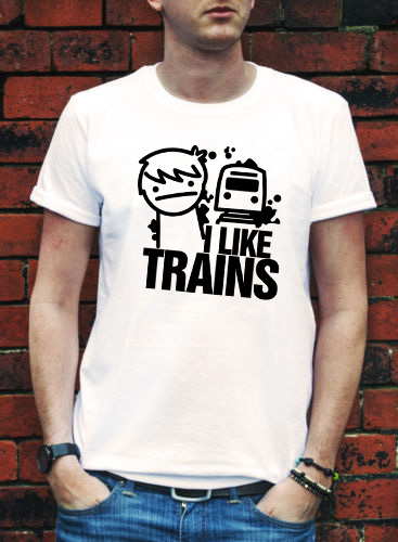 I LIKE TRAINS TRAIN ASDFMOVIE ASDF T SHIRT MOVIE MUSIC FUNNY Logo Print ROCK YouTube TEE TOP Video T-shirt