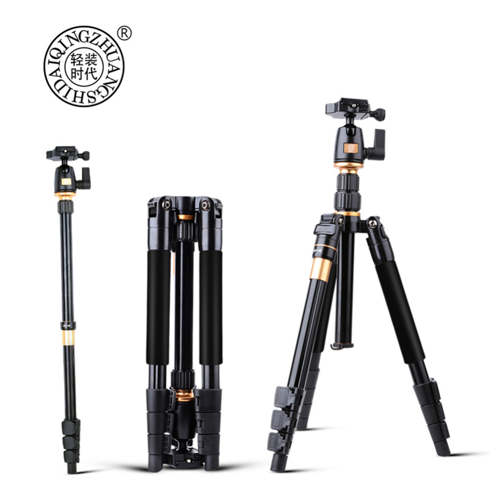 QZSD Q555 55.5 Inches Professional Extendable Aluminium Alloy Camera Video Tripod Monopod With Quick Release Plate Stand qzsd q999 62 2 inches lightweight tripod monopod