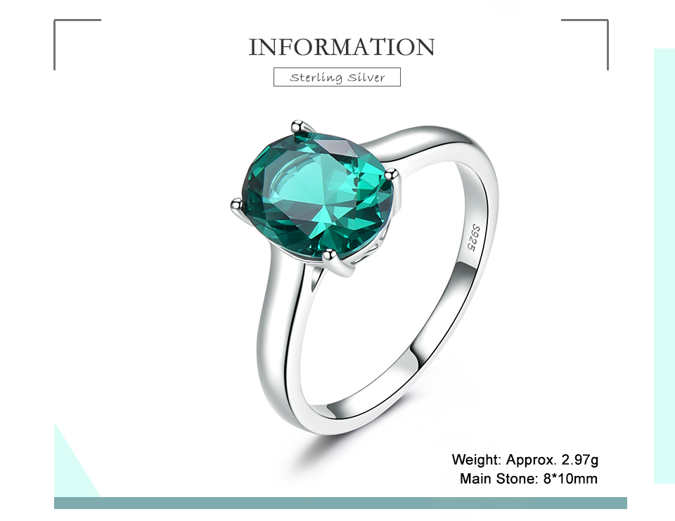 UMCHO ?Emerald   925 sterling silver ring for women NUJ095E-1-pc (2)
