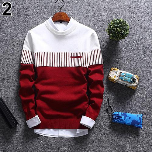 2019 Men's Autumn Fashion Casual Strip Color Block Knitwear Jumper Pullover Sweater Free Shipping